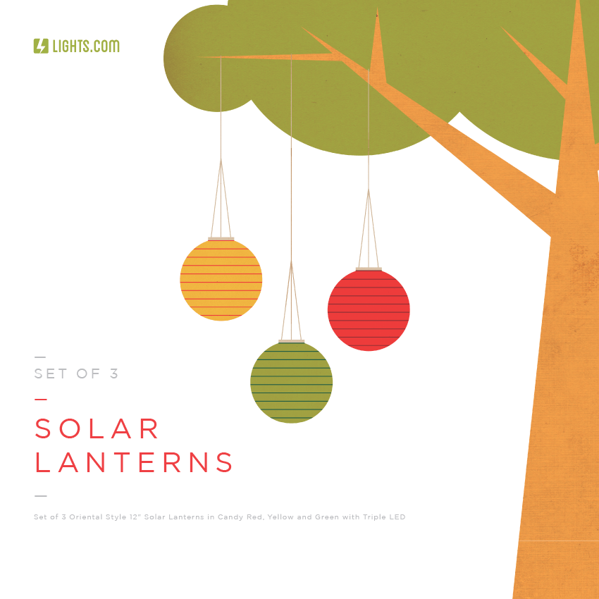 Lights.com Set of 3 Solar Lanterns